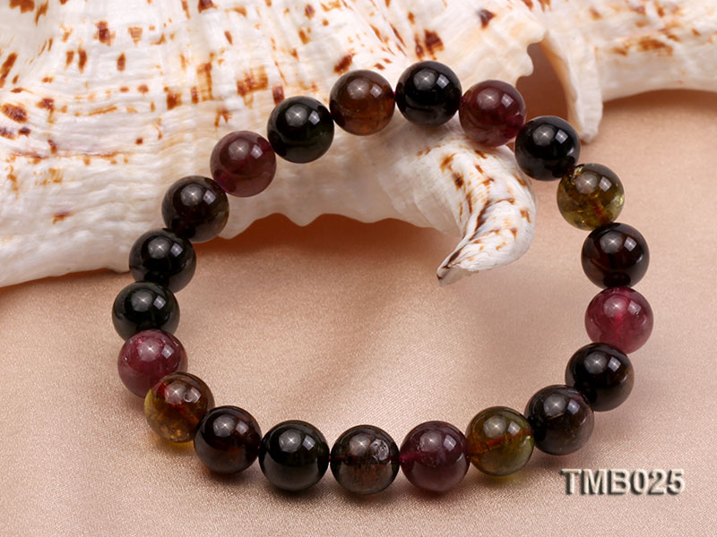 11mm Colorful Round Natural Tourmaline Beads Elasticated Bracelet big Image 3