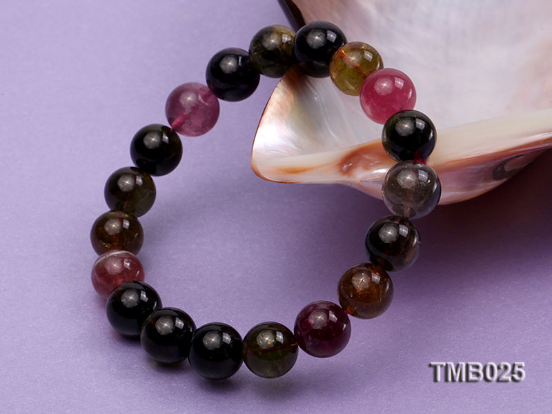 11mm Colorful Round Natural Tourmaline Beads Elasticated Bracelet big Image 4