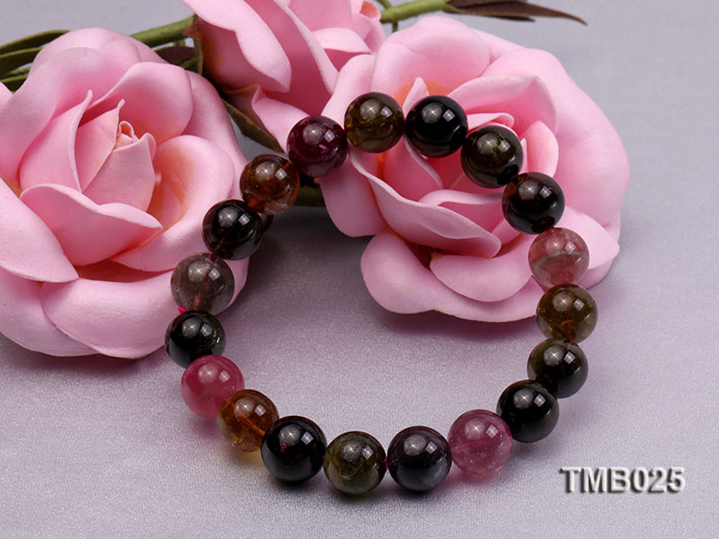 11mm Colorful Round Natural Tourmaline Beads Elasticated Bracelet big Image 5