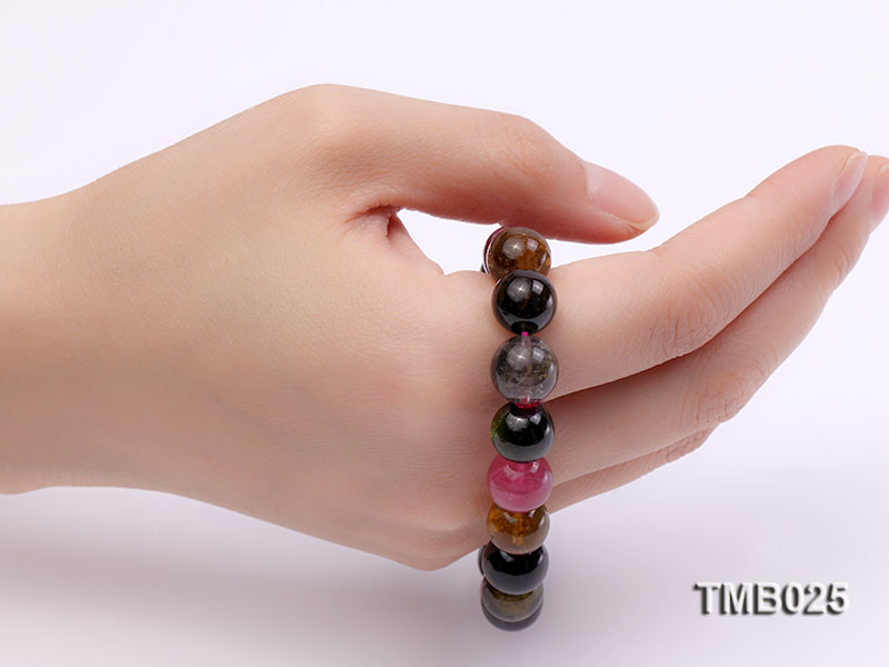 11mm Colorful Round Natural Tourmaline Beads Elasticated Bracelet big Image 6