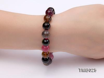 11mm Colorful Round Natural Tourmaline Beads Elasticated Bracelet TMB025 Image 2