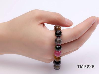 11mm Colorful Round Natural Tourmaline Beads Elasticated Bracelet TMB025 Image 6
