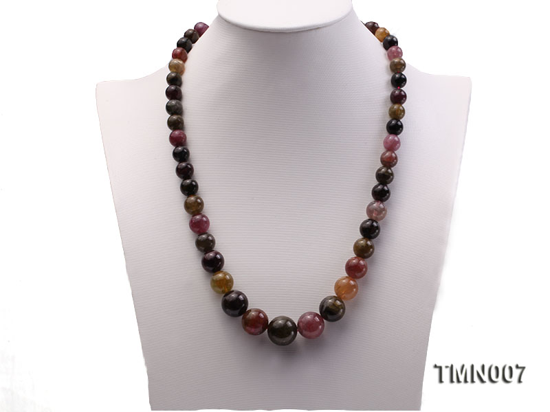 9-17mm Colorful Round Tourmaline Beads Necklace big Image 2