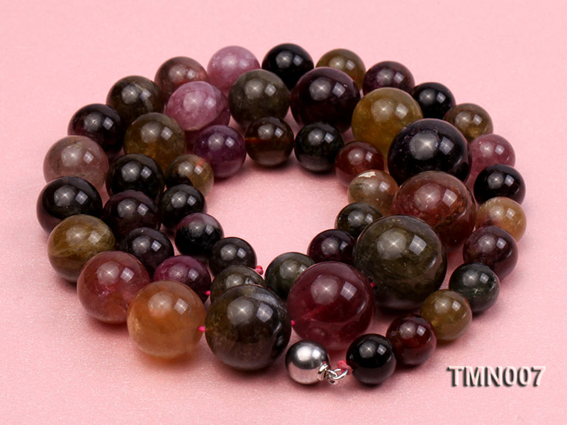 9-17mm Colorful Round Tourmaline Beads Necklace big Image 5