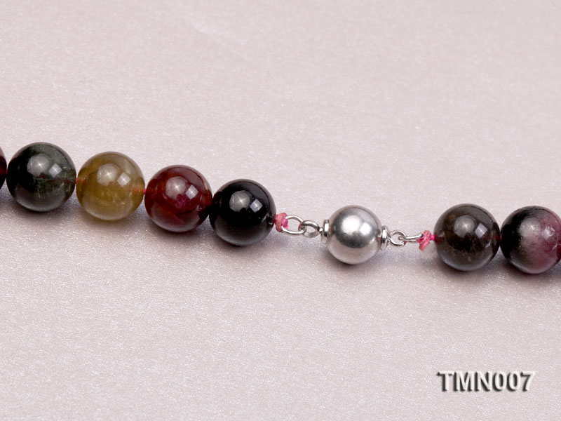 9-17mm Colorful Round Tourmaline Beads Necklace big Image 7