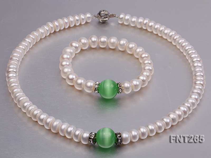9-10mm White Flat Freshwater pearl & Cat's Eye Necklace and Bracelet Set big Image 1