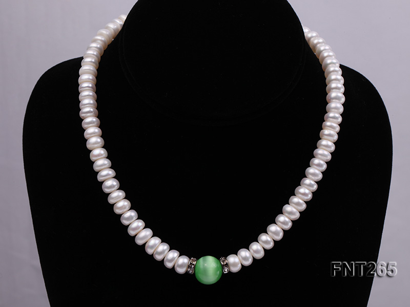 9-10mm White Flat Freshwater pearl & Cat's Eye Necklace and Bracelet Set big Image 3