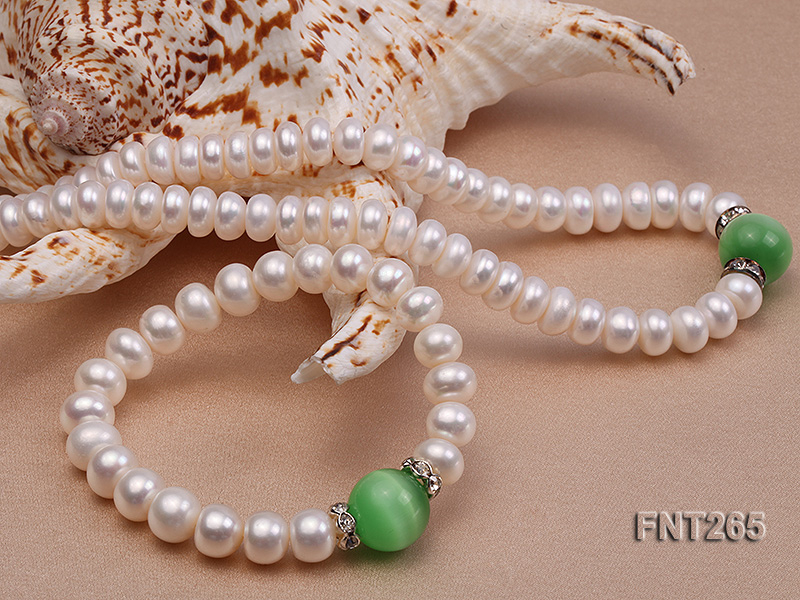 9-10mm White Flat Freshwater pearl & Cat's Eye Necklace and Bracelet Set big Image 4
