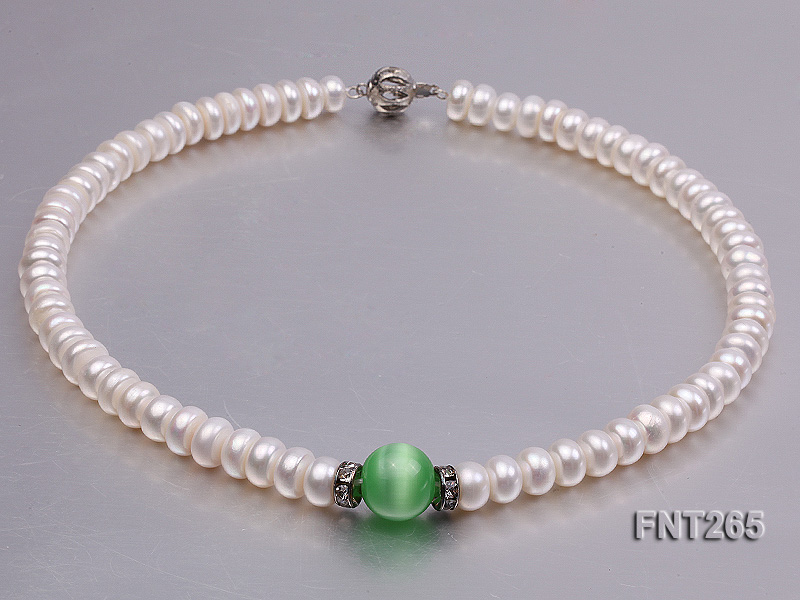 9-10mm White Flat Freshwater pearl & Cat's Eye Necklace and Bracelet Set big Image 5