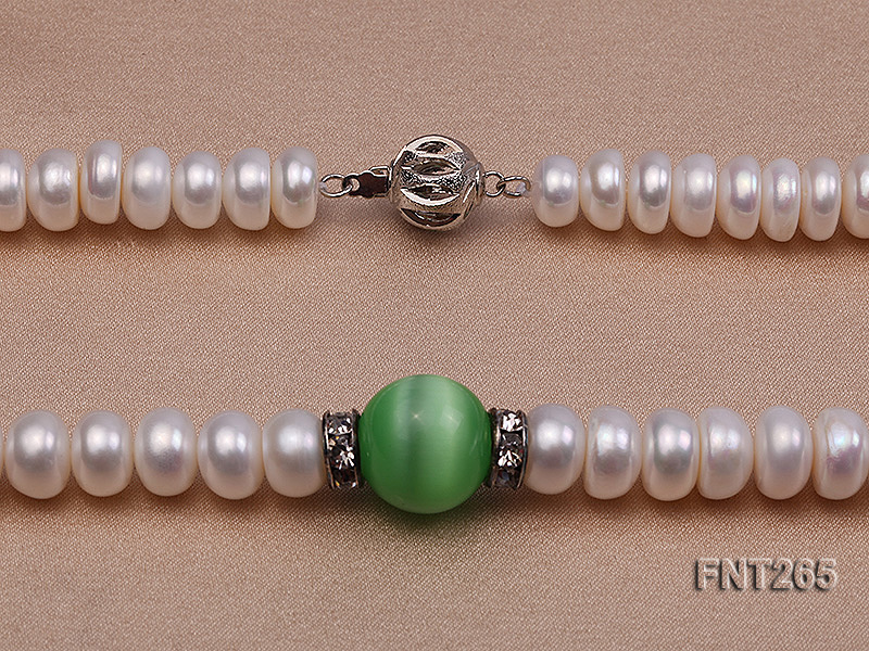 9-10mm White Flat Freshwater pearl & Cat's Eye Necklace and Bracelet Set big Image 6