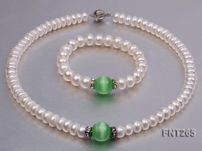 9-10mm White Flat Freshwater pearl & Cat's Eye Necklace and Bracelet Set FNT265 Image 1