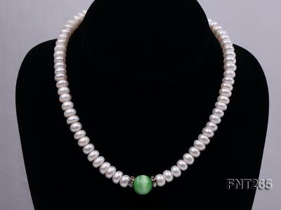 9-10mm White Flat Freshwater pearl & Cat's Eye Necklace and Bracelet Set FNT265 Image 3