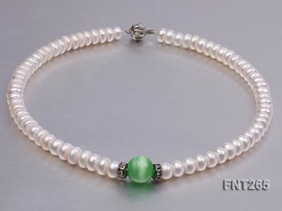 9-10mm White Flat Freshwater pearl & Cat's Eye Necklace and Bracelet Set FNT265 Image 5