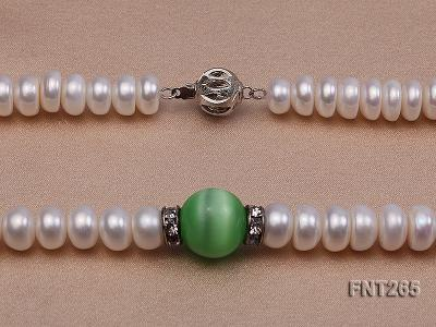 9-10mm White Flat Freshwater pearl & Cat's Eye Necklace and Bracelet Set FNT265 Image 6