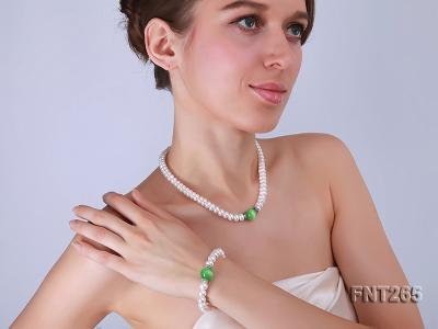 9-10mm White Flat Freshwater pearl & Cat's Eye Necklace and Bracelet Set FNT265 Image 2