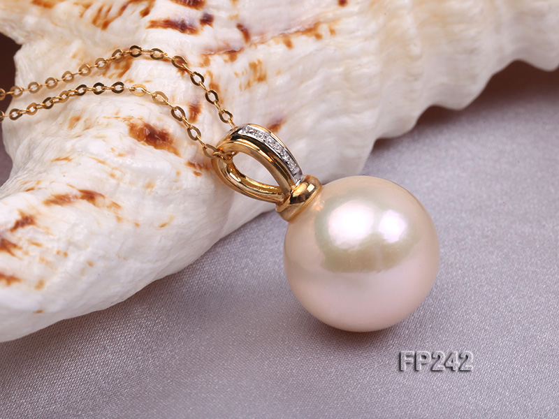 14.8mm Perfectly Round Top-grade Freshwater Pearl Pendant with an 18k Gold Pendant Bail big Image 3