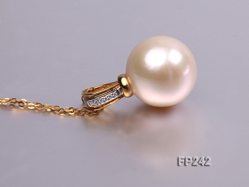 14.8mm Perfectly Round Top-grade Freshwater Pearl Pendant with an 18k Gold Pendant Bail big Image 4