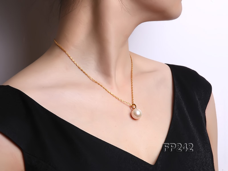 14.8mm Perfectly Round Top-grade Freshwater Pearl Pendant with an 18k Gold Pendant Bail big Image 7