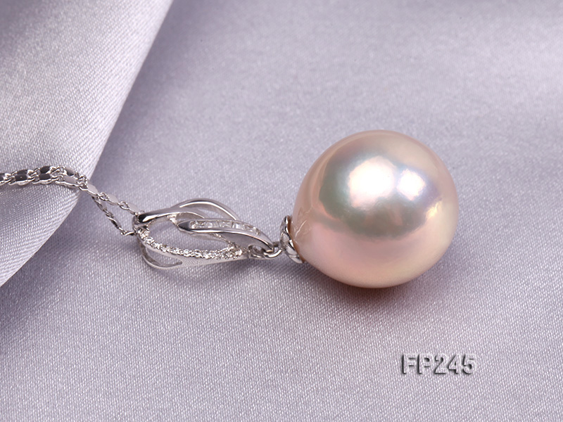 15mm Perfectly Round Top-grade Freshwater Pearl Pendant with an 18k Gold Pendant Bail big Image 3
