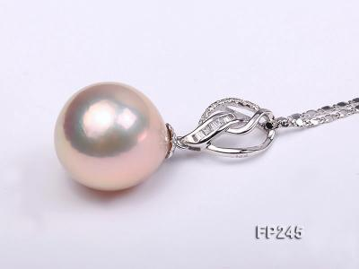15mm Perfectly Round Top-grade Freshwater Pearl Pendant with an 18k Gold Pendant Bail FP245 Image 2