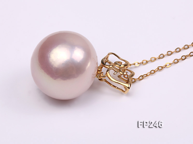 16mm Perfectly Round Top-grade Freshwater Pearl Pendant with an 18k Gold Pendant Bail big Image 2