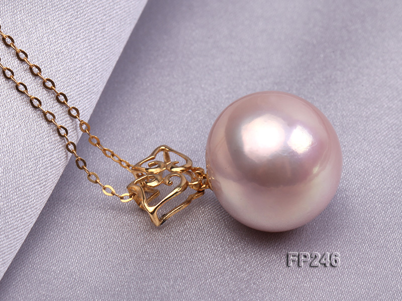 16mm Perfectly Round Top-grade Freshwater Pearl Pendant with an 18k Gold Pendant Bail big Image 3