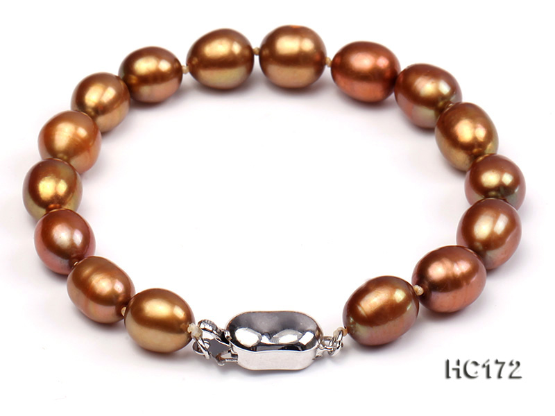 7-8mm brown oval freshwater pearl bracelet big Image 1