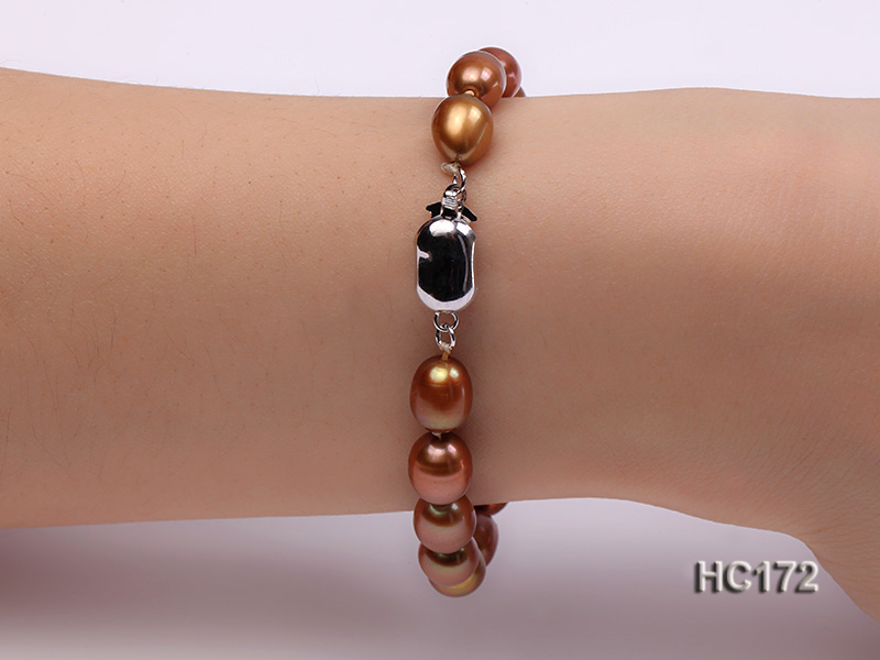 7-8mm brown oval freshwater pearl bracelet big Image 2