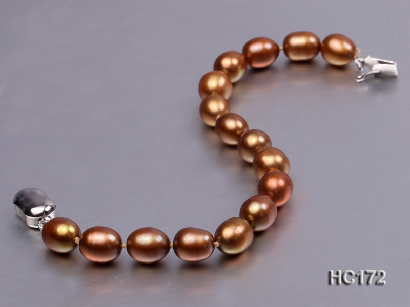 7-8mm brown oval freshwater pearl bracelet big Image 3