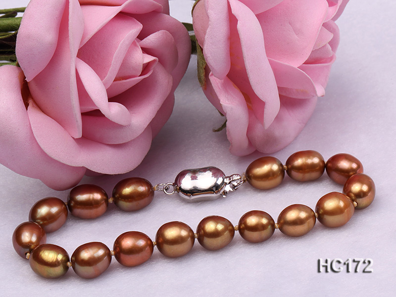 7-8mm brown oval freshwater pearl bracelet big Image 5