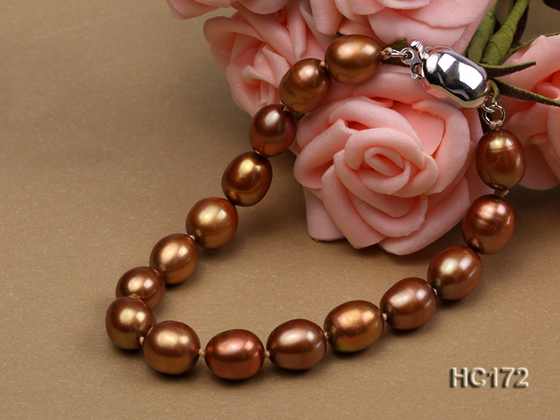 7-8mm brown oval freshwater pearl bracelet big Image 6