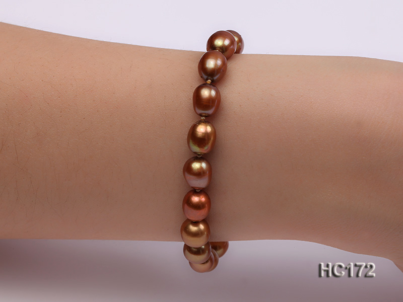 7-8mm brown oval freshwater pearl bracelet big Image 7