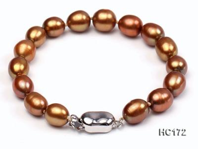 7-8mm brown oval freshwater pearl bracelet HC172 Image 1