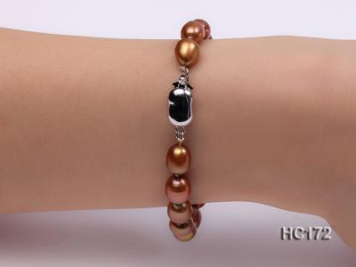 7-8mm brown oval freshwater pearl bracelet HC172 Image 2