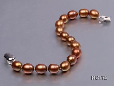 7-8mm brown oval freshwater pearl bracelet HC172 Image 3