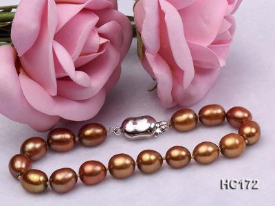 7-8mm brown oval freshwater pearl bracelet HC172 Image 5