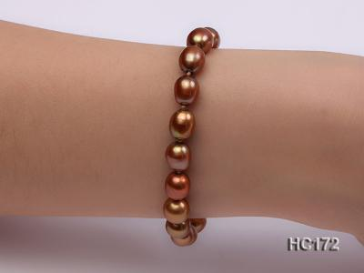 7-8mm brown oval freshwater pearl bracelet HC172 Image 7