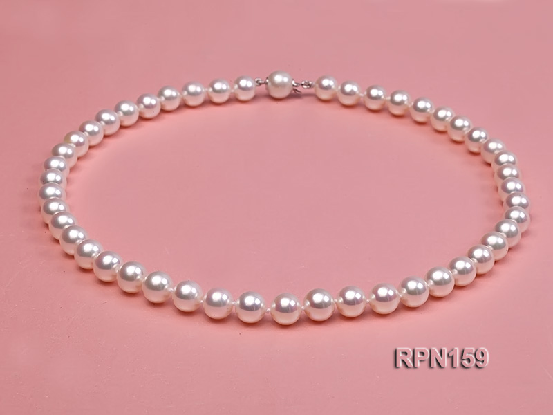 Classic 9mm AAAAA White Round Cultured Freshwater Pearl Necklace big Image 2