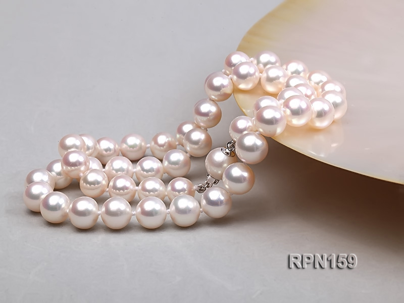 Classic 9mm AAAAA White Round Cultured Freshwater Pearl Necklace big Image 4