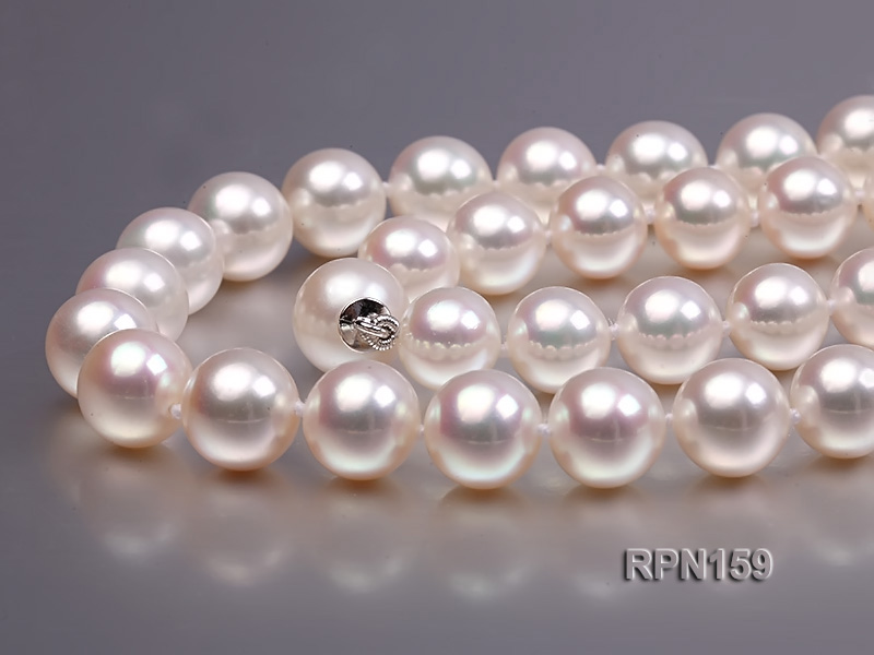 Classic 9mm AAAAA White Round Cultured Freshwater Pearl Necklace big Image 6
