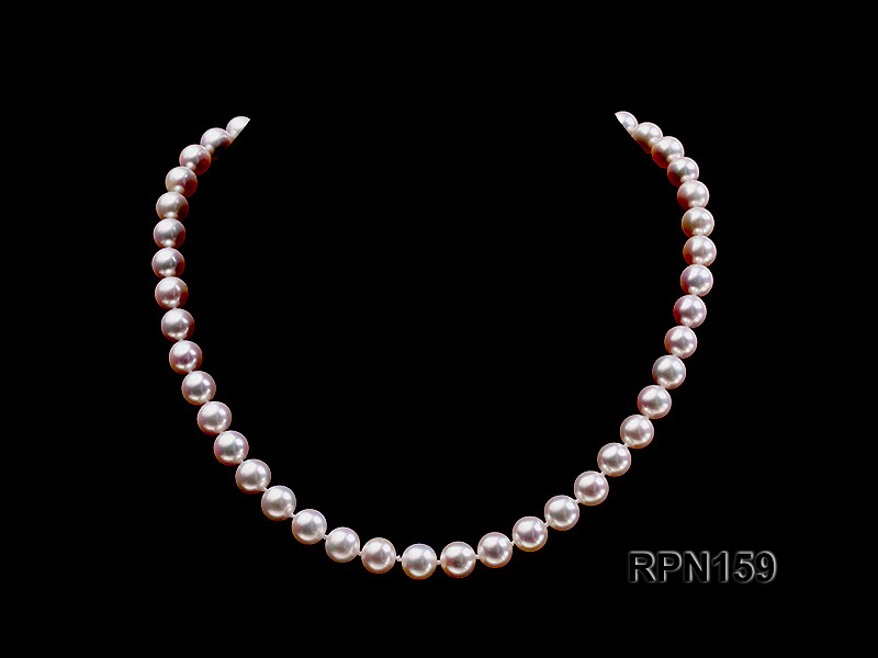 Classic 9mm AAAAA White Round Cultured Freshwater Pearl Necklace big Image 1