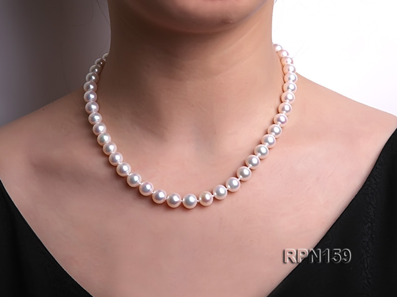 Classic 9mm AAAAA White Round Cultured Freshwater Pearl Necklace big Image 9