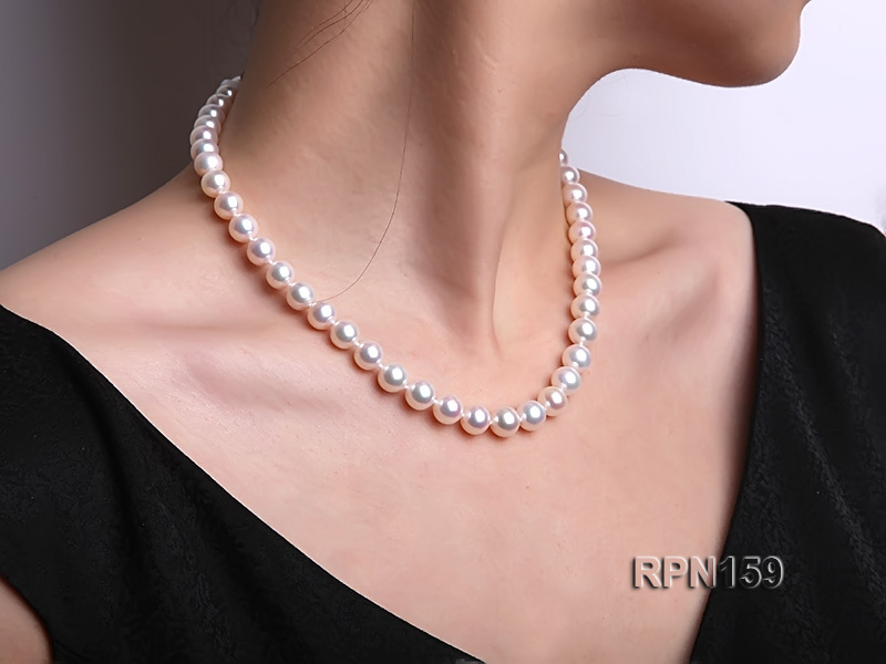 Classic 9mm AAAAA White Round Cultured Freshwater Pearl Necklace big Image 10