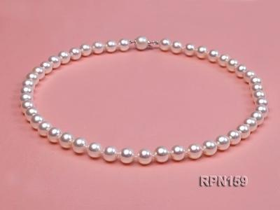 Classic 9mm AAAAA White Round Cultured Freshwater Pearl Necklace RPN159 Image 2
