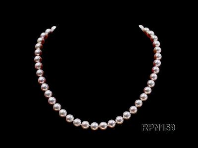 Classic 9mm AAAAA White Round Cultured Freshwater Pearl Necklace RPN159 Image 1