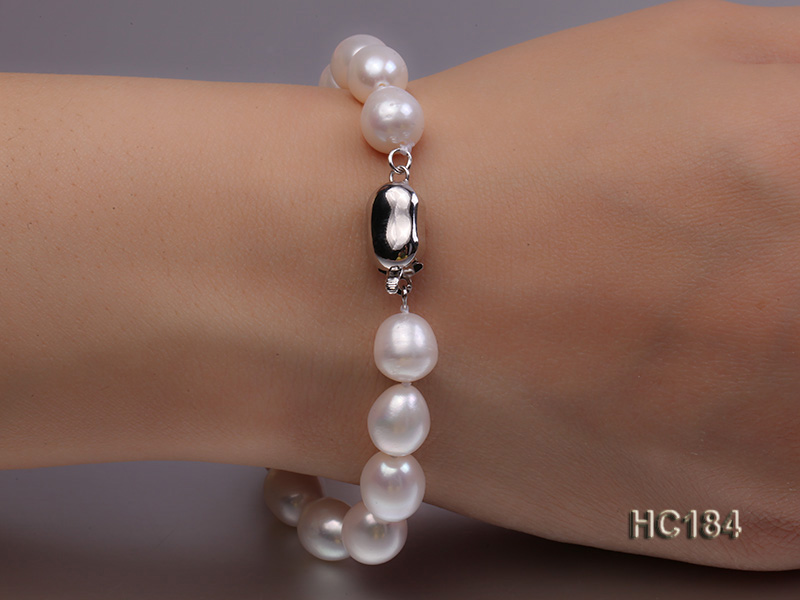 8-9mm white oval freshwater pearl bracelet big Image 2
