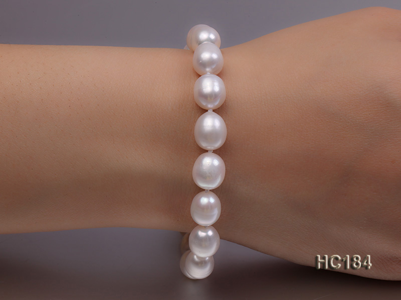 8-9mm white oval freshwater pearl bracelet big Image 1