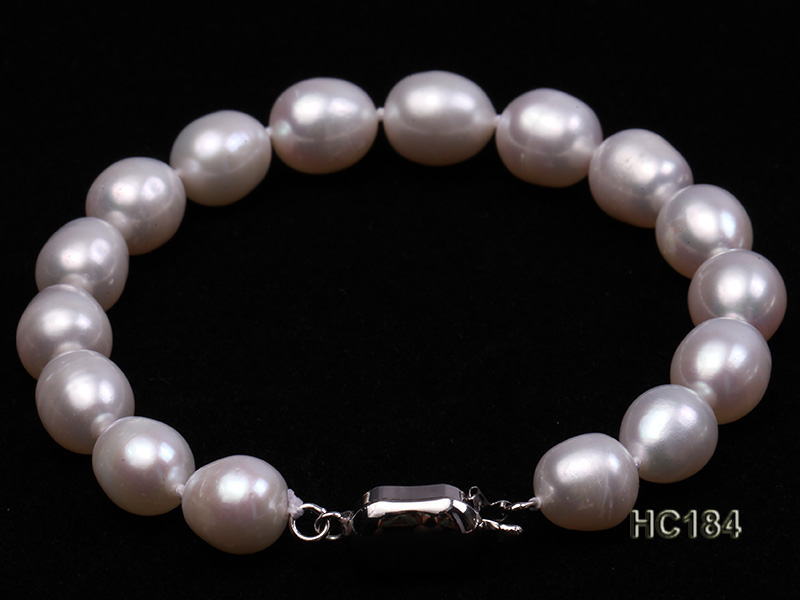 8-9mm white oval freshwater pearl bracelet big Image 3