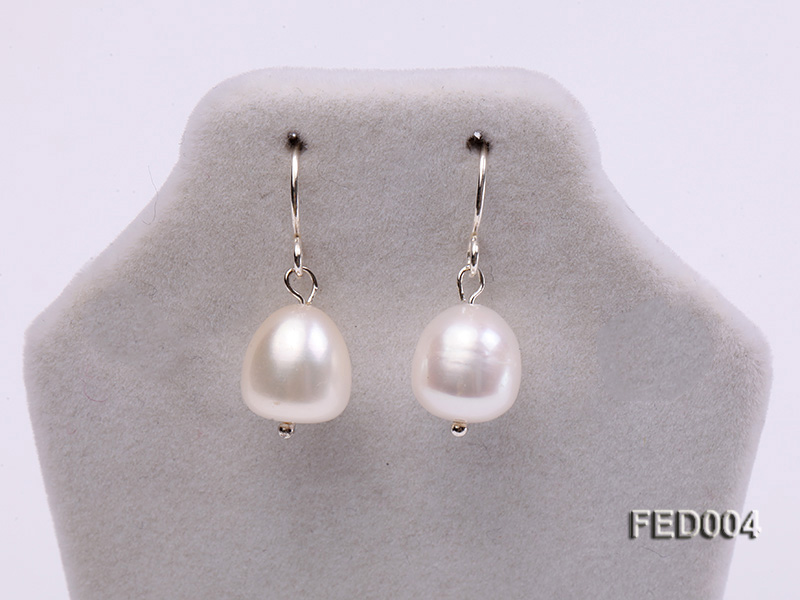 8-9mm White Drop-shaped Freshwater Pearl Earring big Image 2