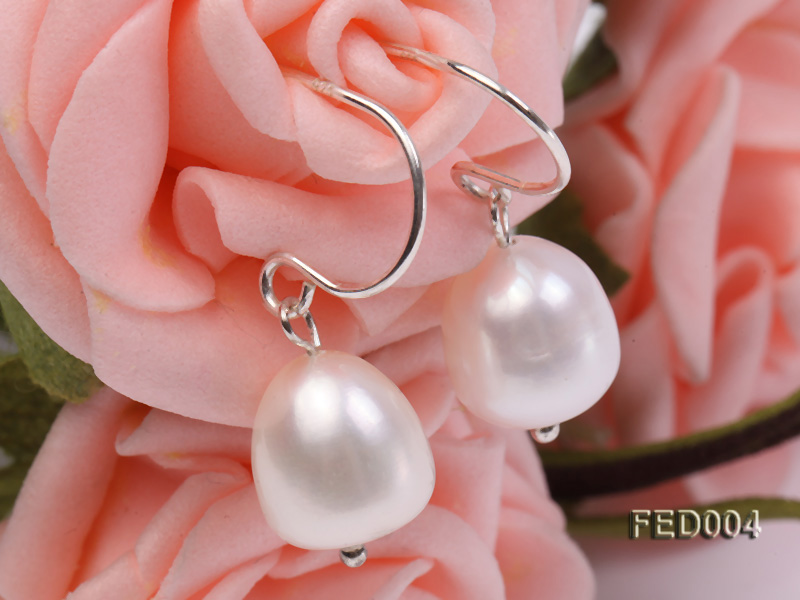 8-9mm White Drop-shaped Freshwater Pearl Earring big Image 5